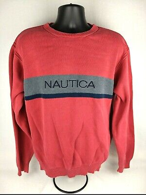 Nautica Crew Neck Sweater Vintage Mens Spell Out Red Gray Black Color Block  XL