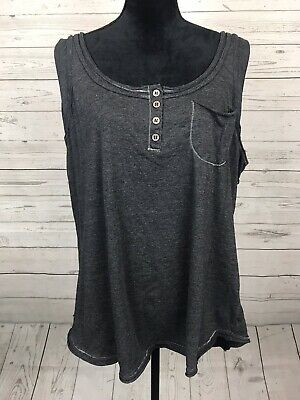 911357b8074 Maurices + Plus Size 3 Gray Grey Layered Button Tank Top Shirt Cotton Blend