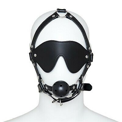 Harness Ball Gag with Blinder BDSM Fetish Collection Mouth Restraints Toy Ft44