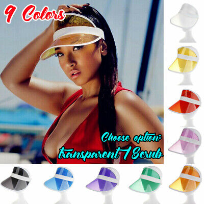 HOT Summer Hat Sun Visor Party Casual Hat Clear Plastic PVC Adult Sunscreen Cap