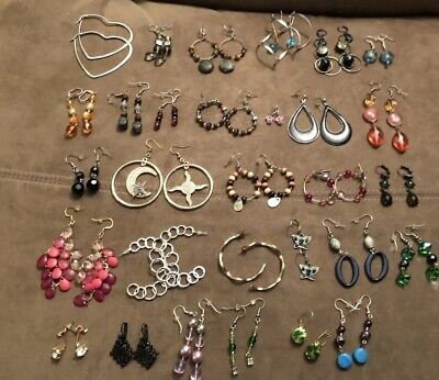 Wholesale Lot of 30 Pairs of Earrings Various Styles, Metals, Some New-Some Used