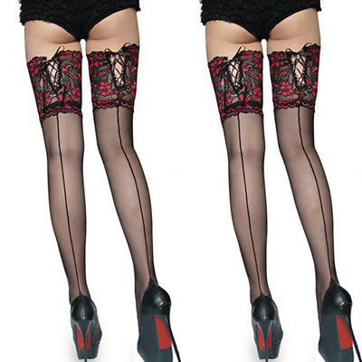 a53b267bc Sexy Women Ladies Tights Lace Top Stay Up Thigh High Stockings Pantyhose New