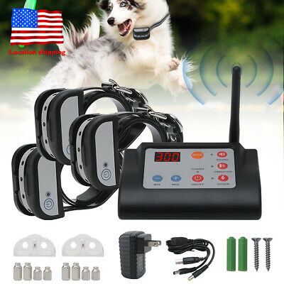 Wireless Electric 1/2/3 Dog Fence Containment Transmitter Training Collar System