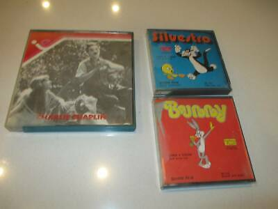 3 x Super 8 movies Charlie Chaplin (silent)  Bugs Bunny and Sylvester