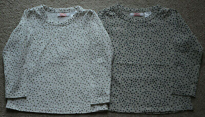 Excellent Condition La Redoute Girls White Grey Printed Star Tops Age 3 (Twins)