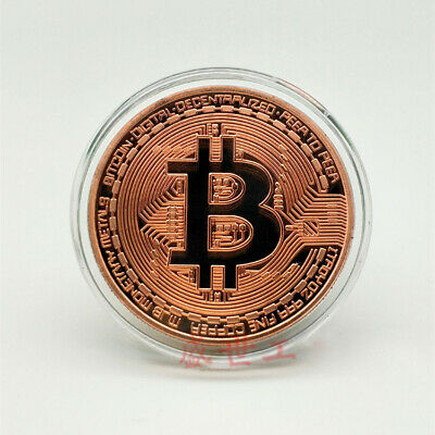 Rose Gold Bitcoin Coin Commemorative Collectors Bit Gold Plated Coins In Case