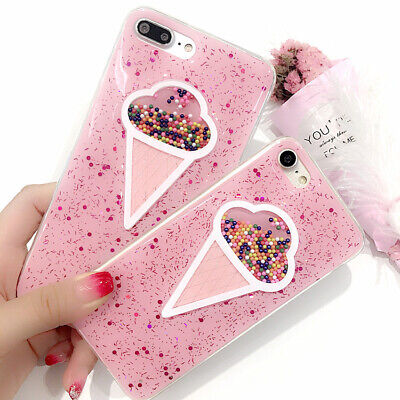 3D Cute Ice Cream Colorful Summer Glitter Case Cover For iPhone 8 7 6 Plus Toy