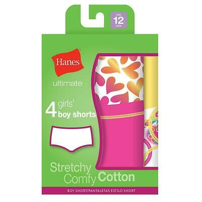 Hanes Ultimate™ TAGLESS® Cotton Stretch Girls' Boy Shorts 4-Pack,Style GUCSP4