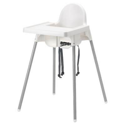 IKEA ANTILOP Kids Furniture Highchairs Highchair with tray silver-colour white