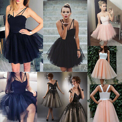 4e1e7ec6d3 Women Formal Strappy Short Tulle Tutu Dress Wedding Evening Party Prom  Cocktail