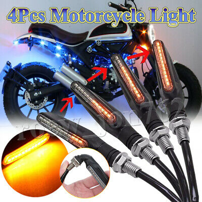 4x Motorcycle Sequential Flowing 12 LED Turn Signal Indicator Lamp Turn Light UK