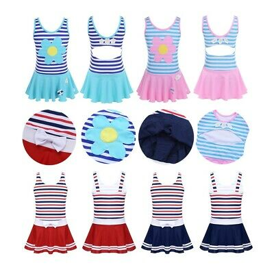 Children Girls Beach Swimming Striped Swimwear Kids Skirted Flowers Bathing Suit