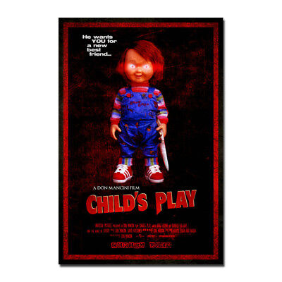 Chucky Child's Play Horror Movie Canvas Posters Art Prints 8x12 24x36inch