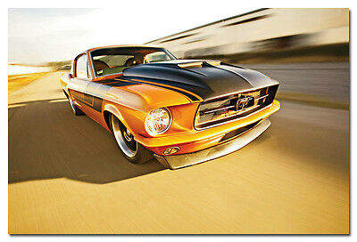 "1967 Ford Mustang Hot Rods Classic Muscle Car Silk Poster Print 13x20 24x36"" 002"