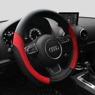 15'' Car Steering Wheel Cover PU Leather Universal Fit Protection M,Red
