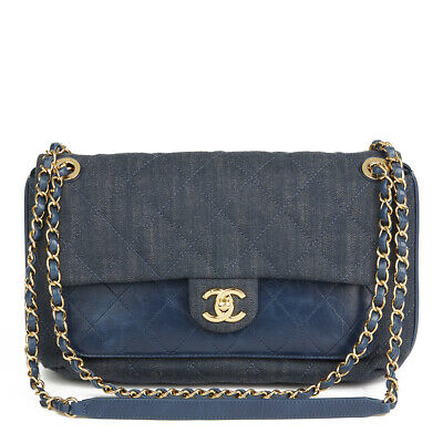 aa3561e22523 Chanel Blue Quilted Denim & Blue Calfskin Leather Single Flap Bag Hb2145