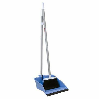 Residential Clean Up Flip Lock Dust Pan Lobby Broom Upright 30 in. Steel Handle