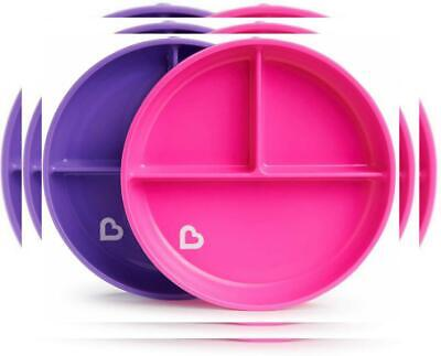 Munchkin Stay Put Divided Suction Plates, Pink/Purple, Pink/Purple