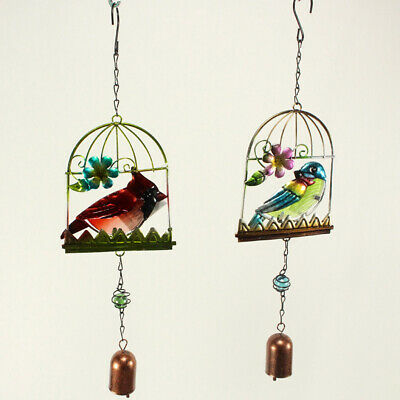 Aged Look Cast Iron Metal Bird Cage Wind Chime Decorative Ornaments Garden