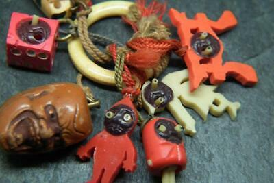 Antique Art Deco 1930s Japanese KOBE Charms Pop Out Eyes/ Carved Cat Charm