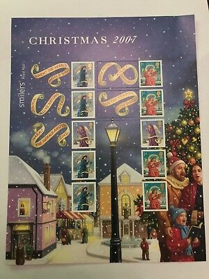 GB 2007 sg LS42 Christmas Xmas Smiler Sheet Half Sheet Litho Self Adhesive MNH