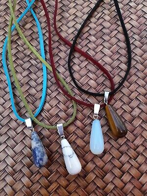 4 Pack Gemstone Opalite Tiger's Eye Sodalite Howlite Pendant Necklaces On Cords