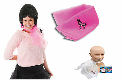 50s Neck Scarf Pink White Lady Poodle Tie Day Wear Accessory or Grease Dress Up