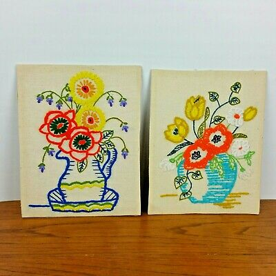 Vintage Boho Floral Crewel Embroidery Colorful Completed Finished Set of 2