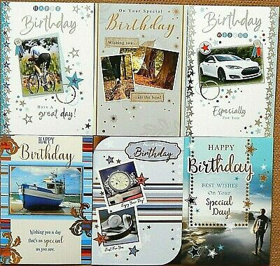 Pack of 6 Traditional Mens Male Birthday Cards Gardening Country Scene Cards //B3