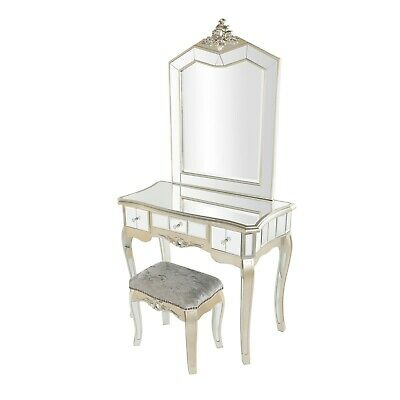 Annabelle French Silver Gilt Vintage Distressed Mirrored 3 Drawer Dresser Set