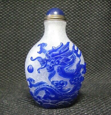 Tradition Chinese Glass Carve Dragon Design Snuff Bottle。。。。,。。。