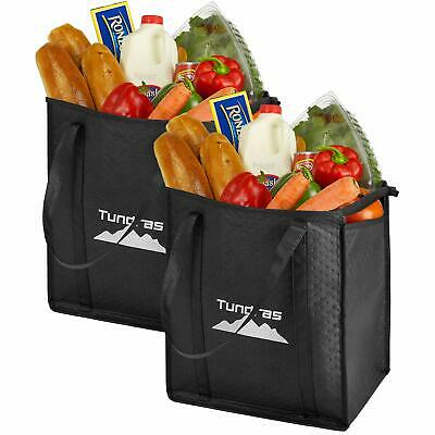 969018312968 BLACK 2 INSULATED Shopping Grocery Bags Durable Heavy Duty Extra ...