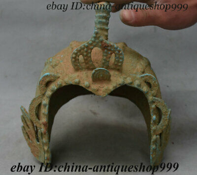 Collect Antique Chinese Bronze Ware Dynasty soldier Man casque helmet craniacea