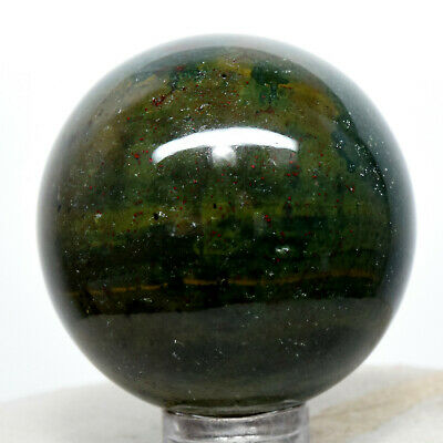 41mm Bloodstone Sphere Natural Heliotrope Mineral Chalcedony Crystal Stone India