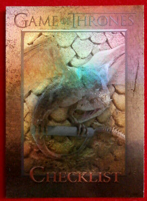 GAME OF THRONES - CHECKLIST (DRAGON) - Season 3 - FOIL PARALLEL Card #098