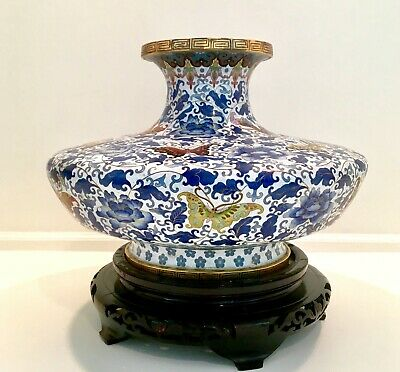 """Antique Chinese  Large Cloisonne Vase with Butterflies And Chrysanthemums, 21"""" W"""