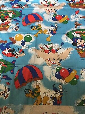 Disney Mickey Mouse Vintage Fabric Dumbo Donald Pluto Minnie Chip Dale Jiminy