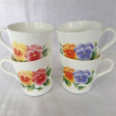 Set of 4 Corelle Summer Blush Pansies Coffee Mugs by Corning