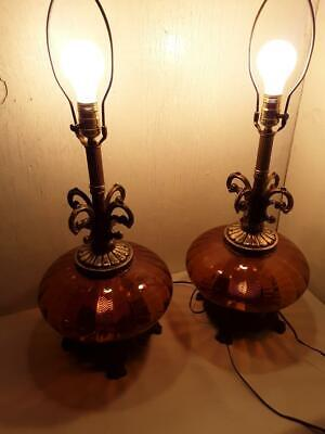 Pair of Vintage Mid-Century Modern Hollywood Regency Amber Glass Table Lamps