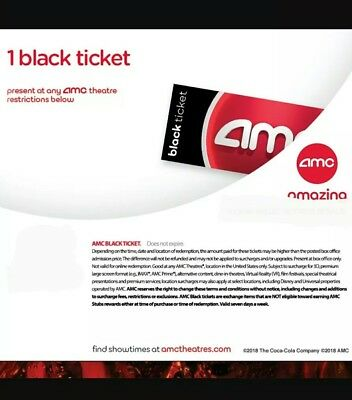 1 AMC Black Ticket, 1 Large Drink  and 1 Large Popcorn fast email delivery