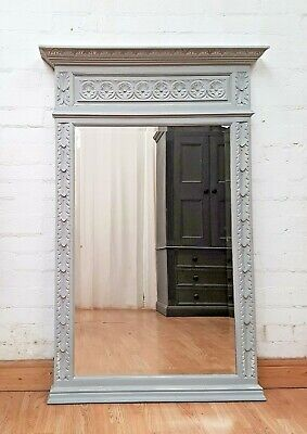 LARGE ANTIQUE FRENCH PAINTED CARVED OAK MANTEL MIRROR - c1900