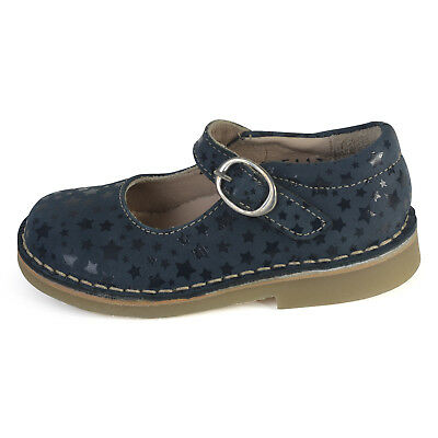 Petasil Girls Cleo Blue Stars Nubuck Leather Buckle Shoes F Width 5718
