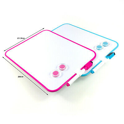 Magnetic White Board Dry Wipe Marker Magnet Drawing Writing Play Board Pink Blue