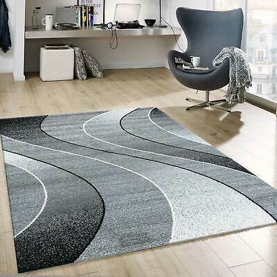 TAPIS POILS RAS Intemporel Abstrait Motif Design Salon Gris - EUR 9 ...