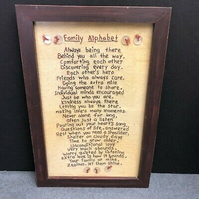 Family Alphabet Primitives By Kathy Stitchery Hand Stitched Framed Wall Hanging