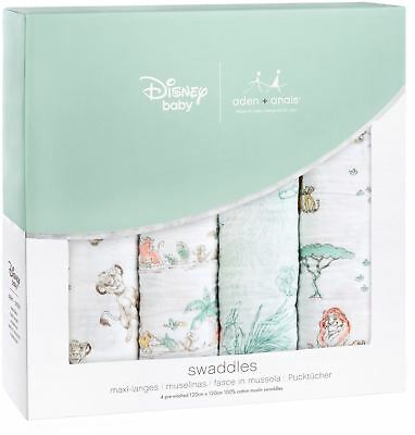 Aden + Anais DISNEY CLASSIC SWADDLE 4 PACK 101 LION KING Baby Bedding BNIP