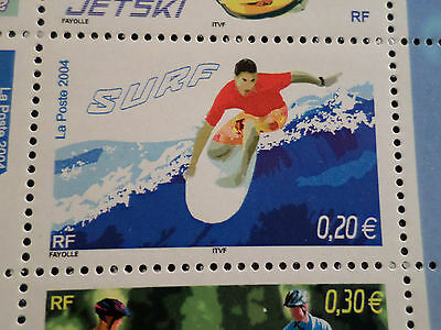 FRANCE 2004, timbre 3694, SPORTS de GLISSE, SURF, neuf , MNH STAMP