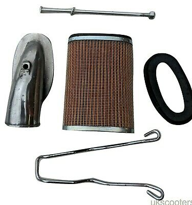 ukscooters LAMBRETTA AIR FILTER AIRBOX ELBOW KIT SS CLIP PLATE GASKET 6 ITEMS