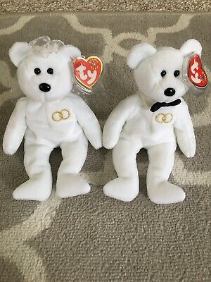 "TY BEANIE BABIES /""MR AND MRS/"" WEDDING COUPLE MWMT TAGS"