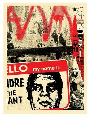 """OBEY Shepard Fairey """"Hello My Name Is"""" Signed & Numbered Screen Print CONFIRMED"""